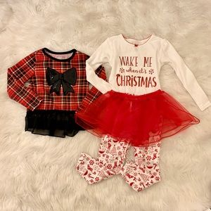 🎈3/$15 Christmas jammies/top bundle-3T